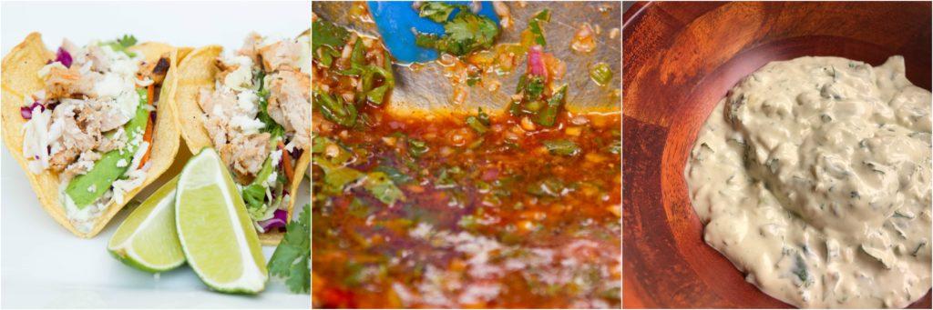 Fish Tacos Collage marinade Cream Sauce