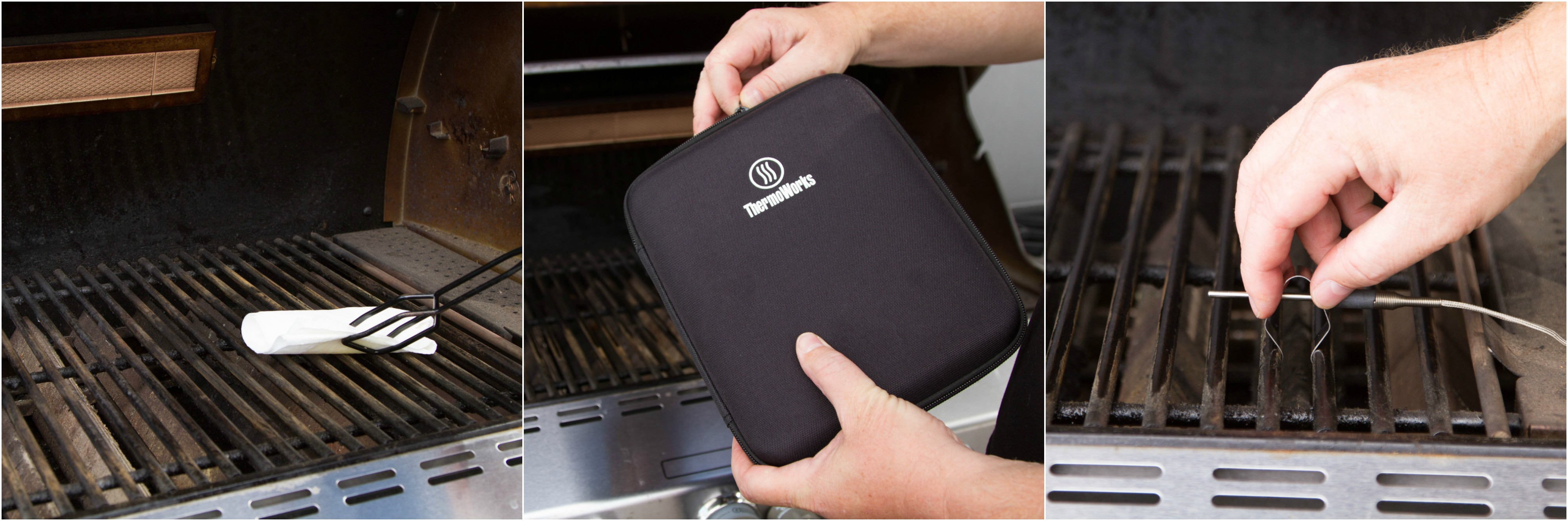 Oiling grill grate, securing air probe with grate clip