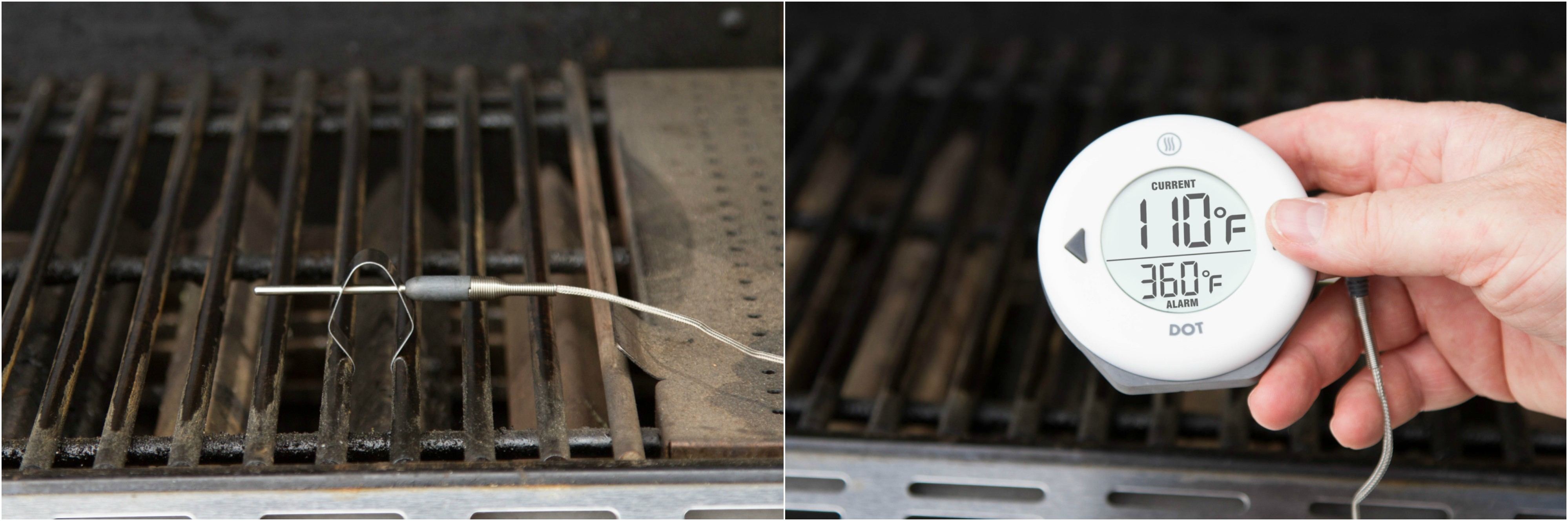Pro-Series Air Probe on grill grate, setting high alarm on DOT thermometer