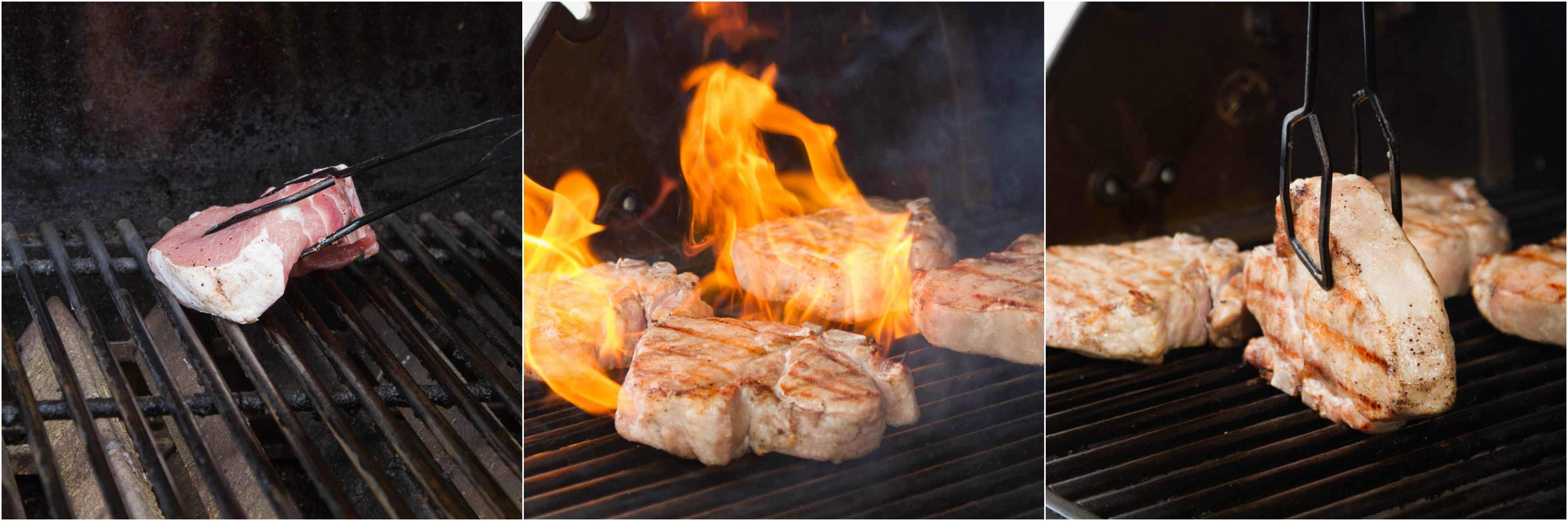 Searing pork chops over direct, high heat on a grill