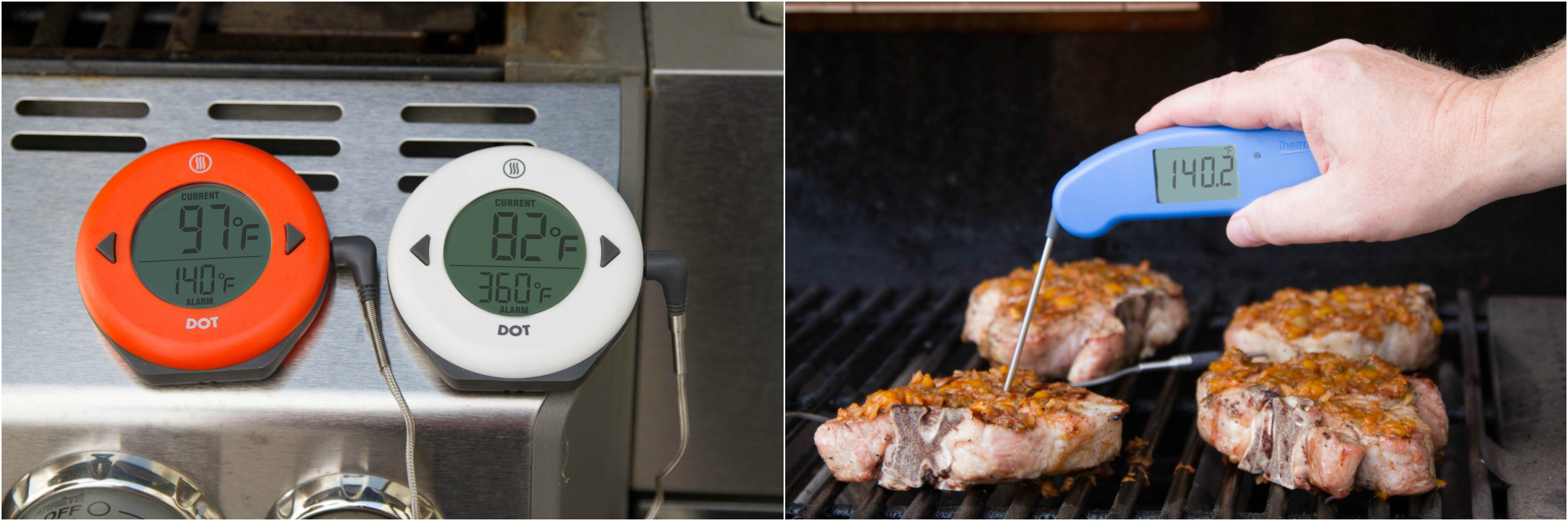 Tracking temperatures while grilling pork chops, spot-checking internal temperatures with a Thermapen Mk4