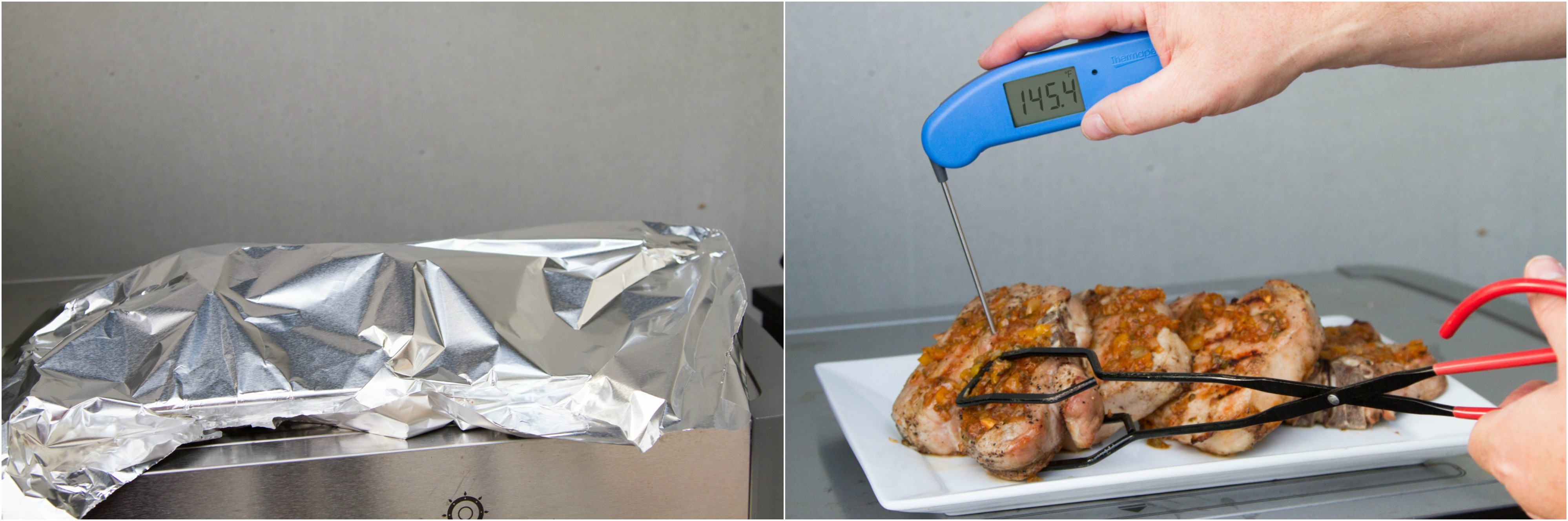 Resting grilled pork chops, verifying internal doneness temperature with a Thermapen Mk4