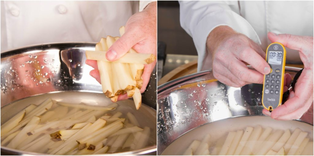 soak the french fries for 30 minutes before frying