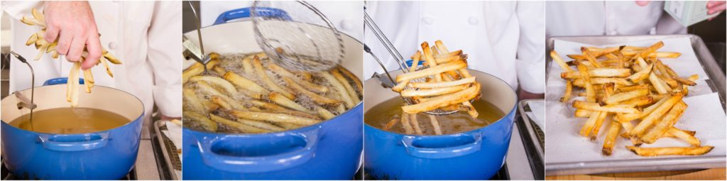Fry the french fries at 375° until golden and crunchy