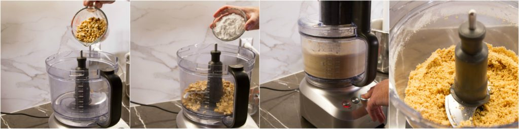 Grind peanuts and powdered sugar in a food processor