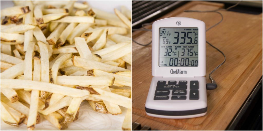 Let the fries rest for 10 minutes and heat the oil to 375°