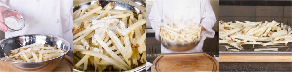 toss the french fries with cornstarch to make a better crust