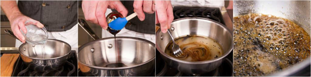 Combine ingredients for Butterfinger candy in a saucepan
