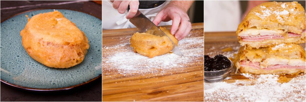 Cut the sandwich and prepare for serving with powdered sugar and jam