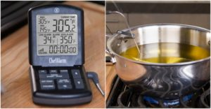 Set ChefAlarm to 350°F for your oil