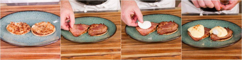 toast, ham, eggs, sauce, garnish!