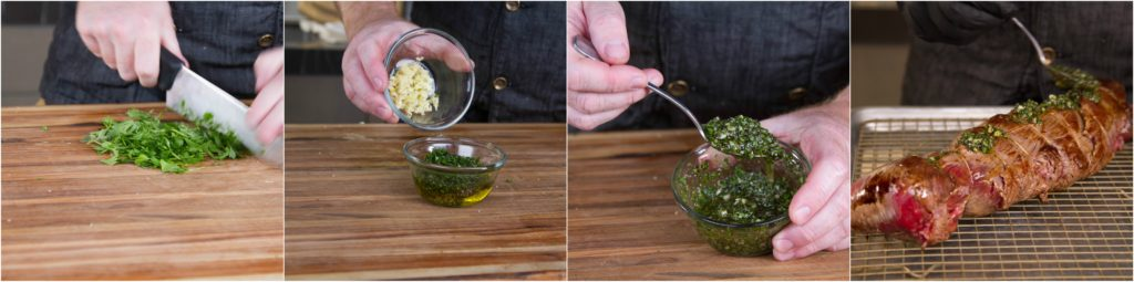 Make a wet rub of garlic, herbs, oil, and pepper
