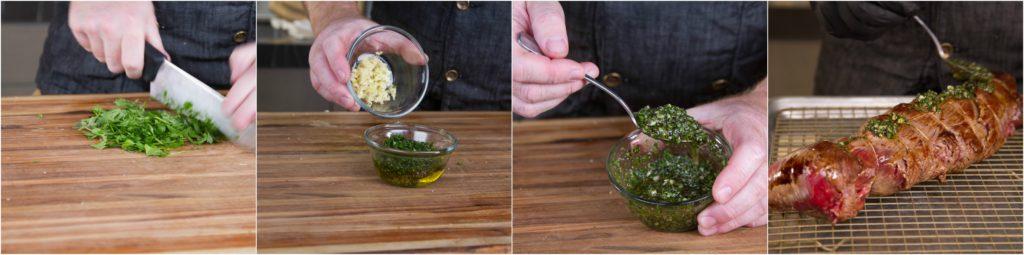Make a wet rub of garlic, herbs, oil, and pepper
