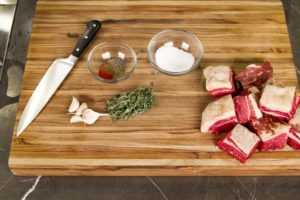 Ingredients for brisket confit