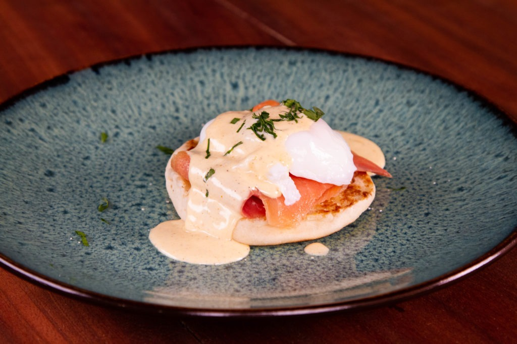 Eggs Benedict with smoked salmon and browned butter hollandaise