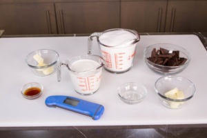Ingredients for creamy chocolate fudge