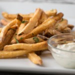 french fries with aioli for dipping