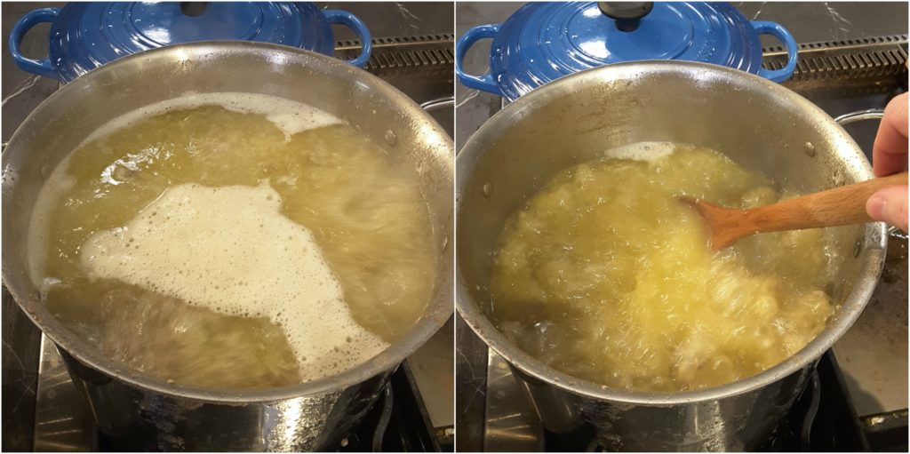 A hard simmer will render the tallow as quickly as is safe
