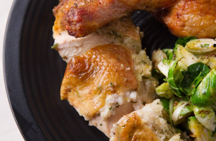 Roast Chicken on the Smoker with Sauteed Brussels Sprouts: temperatures for success