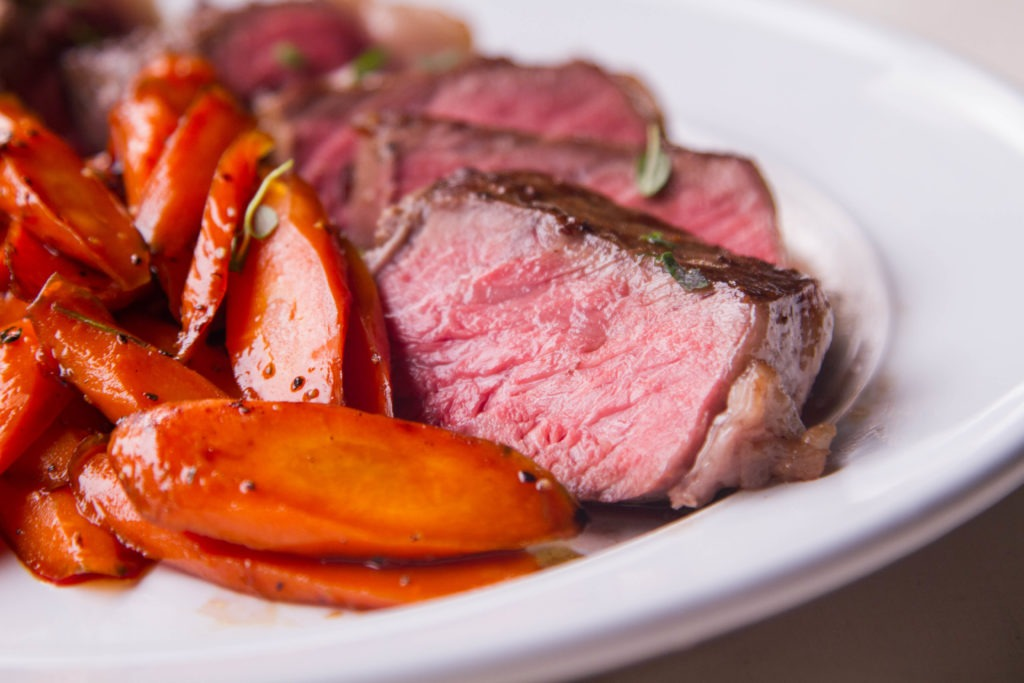 Sous vide steak recipe with honey-glazed carrots