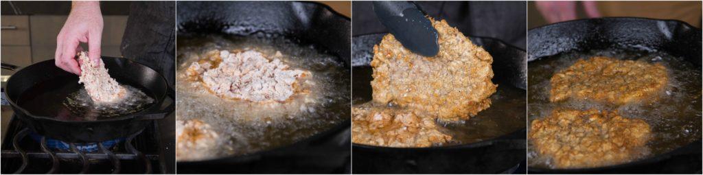 Frying chicken fried steaks