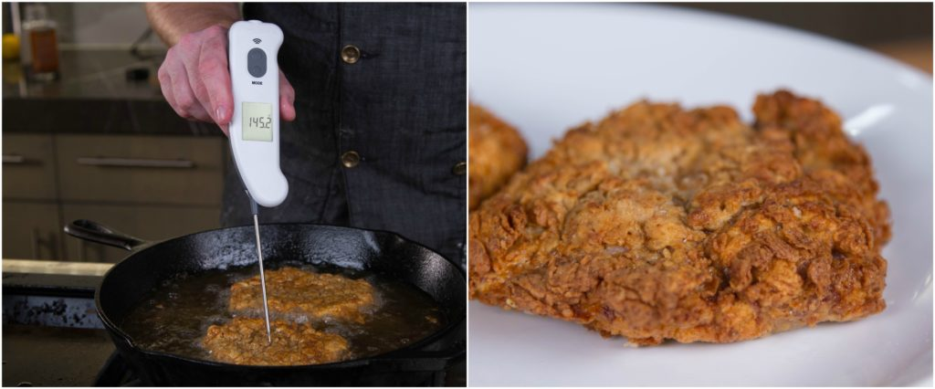 Cook the chicken fried steaks to 145°F