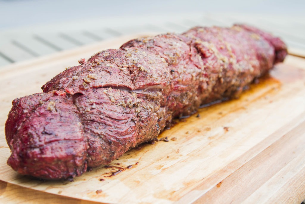Whole smoked beef tenderloin