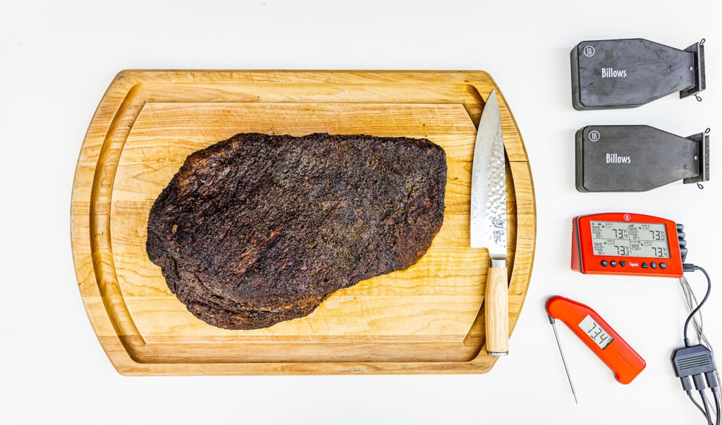 Smoked brisket with thermometers