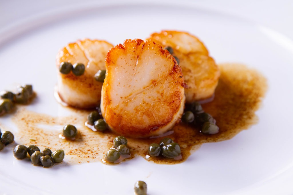 Seared scallops done to the perfect temperature