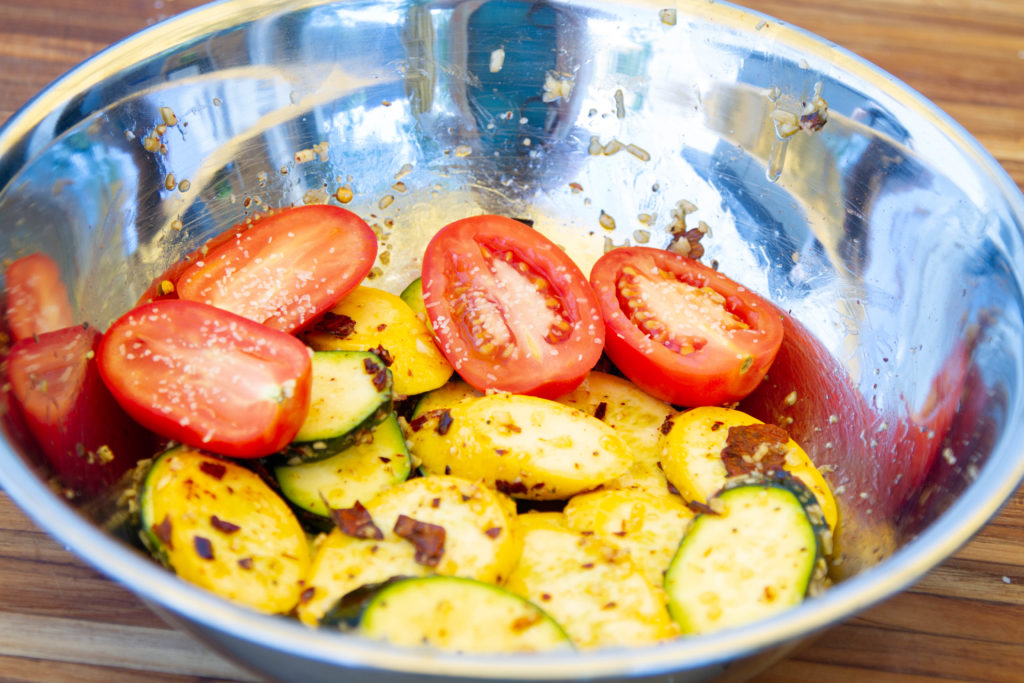 Grilled summer vegetables, ready to cook