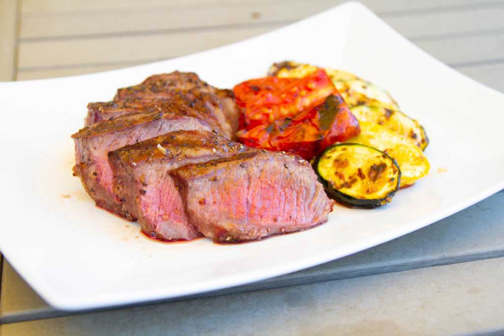 grilled NY strip steak with grilled vegetables