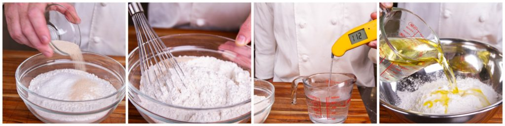 Mix the ingredients for the pizza dough together