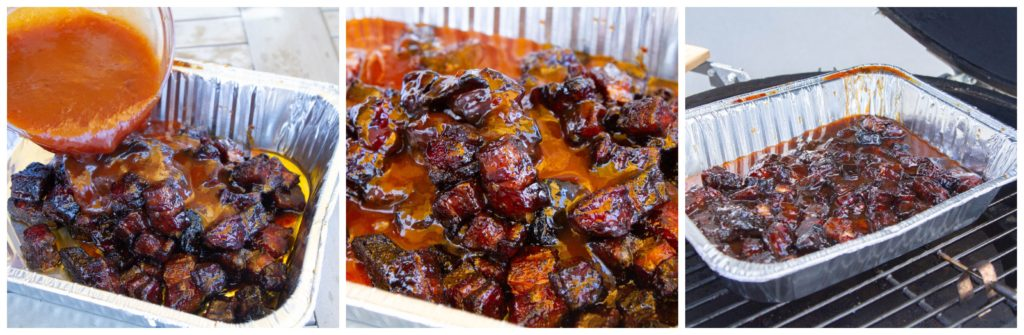 Glaze the pork belly burnt ends with spicy sweet BBQ sauce