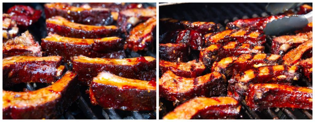 Turn the ribs while grilling to lacquer each rib