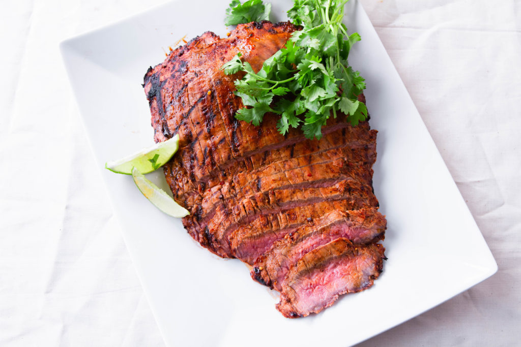 Grilled flank steaks