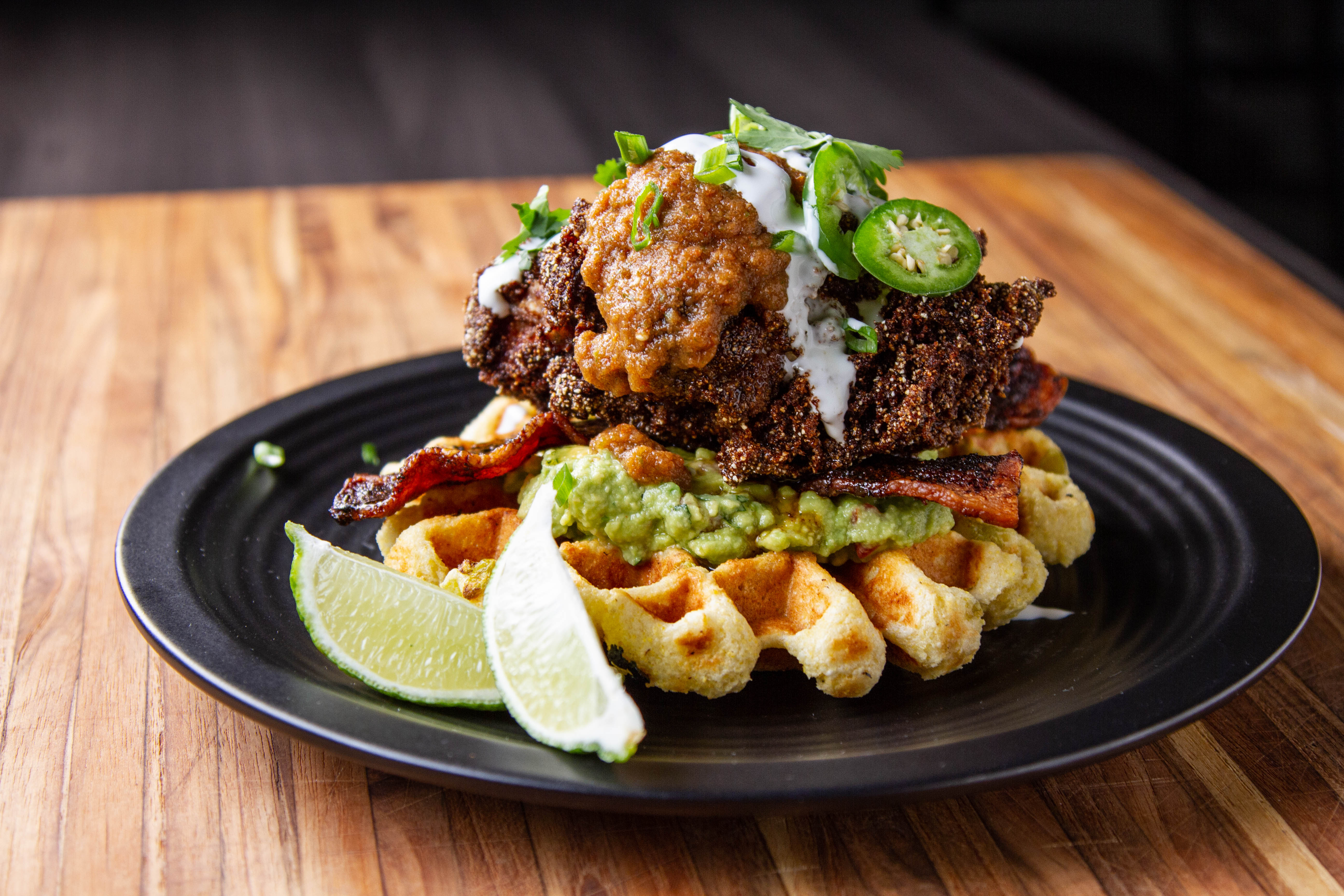 Chicken and waffles from batter to iron