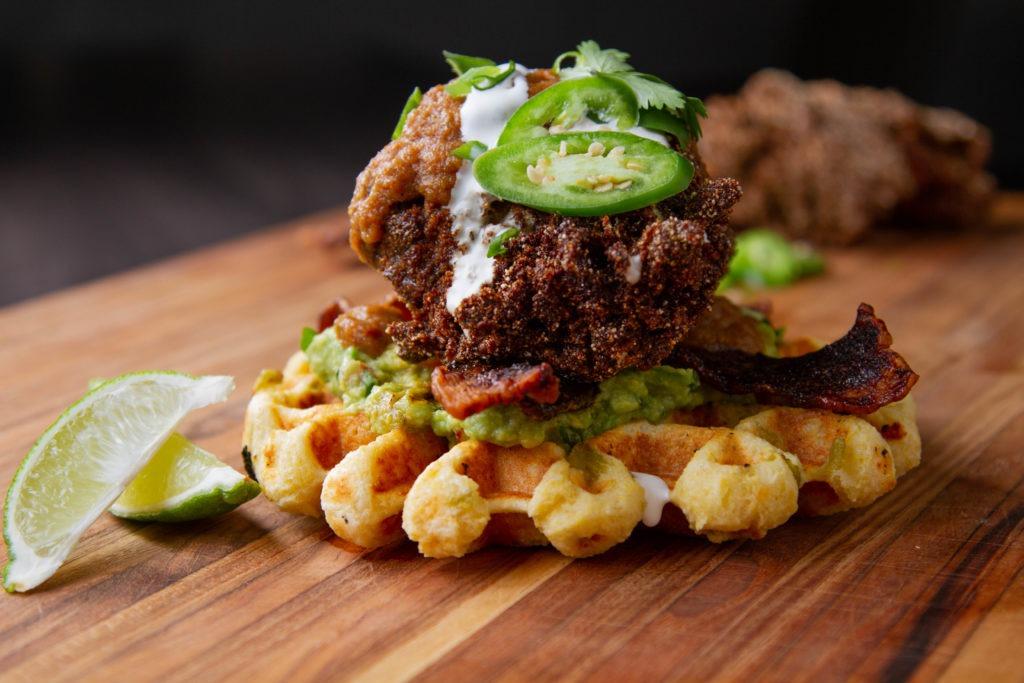 Waffle iron, waffle batter—chicken and waffles