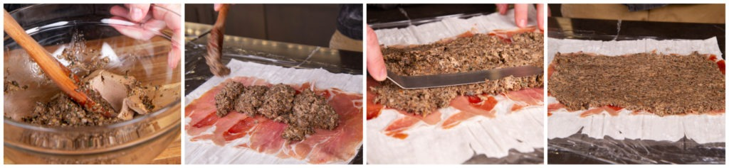 Beef Wellington: Add duxelles to the ham layer