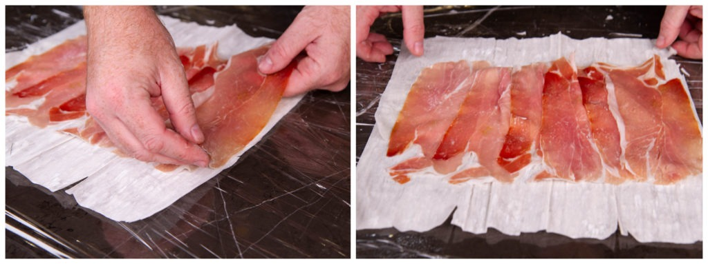 Shingle the ham on the filo dough to prepare the beef wellington