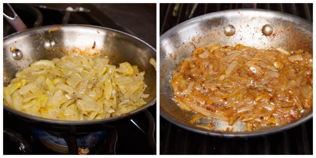 Caramelize the onions slowly over medium-low heat