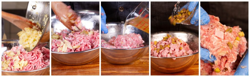 Mix the onions, chicken stock, ham, and nuts into the pork mixture.