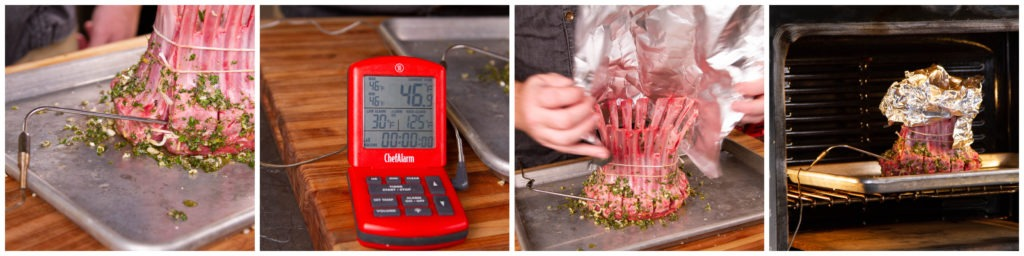 Roast the crown roast of lamb at 425°F until it reaches an internal temp of 125°F.