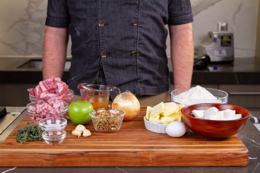 Ingredients for this English pork pie recipe