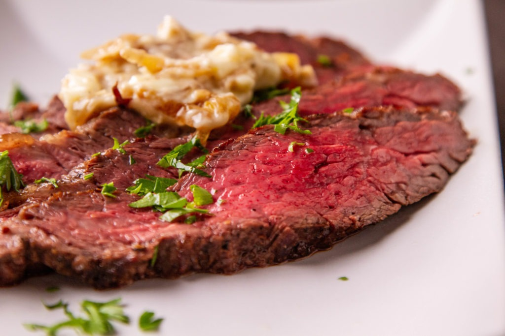 Delicious rib cap (ribeye cap) with onion butter