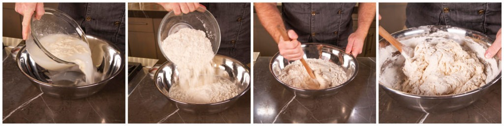 Mix the flour and water and allow the mass to sit to autolyse
