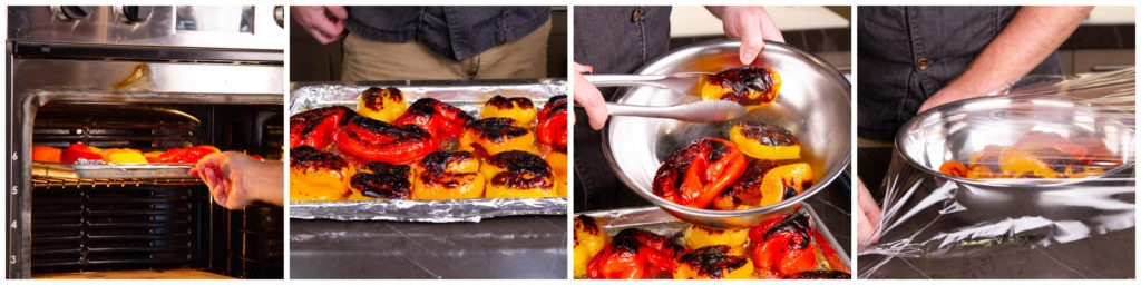 When the peppers are charred, place them in a bowl and cover with plastic wrap. Allow them to sit for 10 minutes.