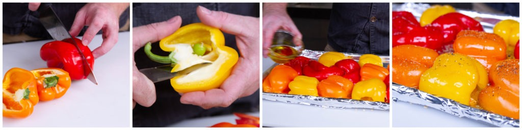 Halve, trim, oil, and season the peppers. Place them on a lined baking sheet.
