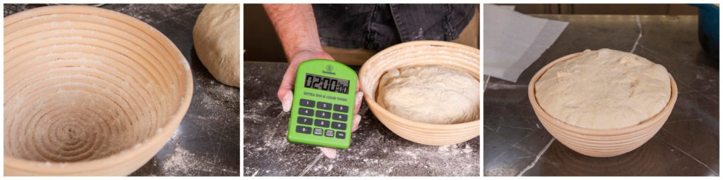 Proof the dough in floured baskets or bowls