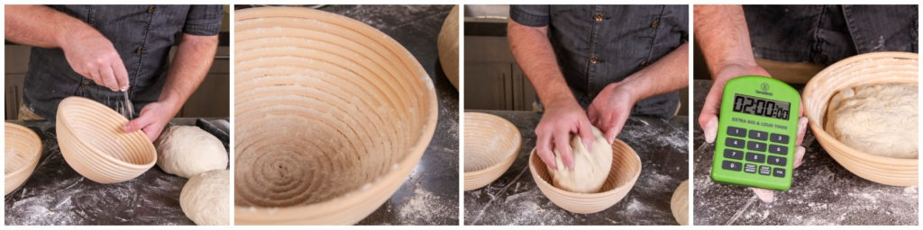 Dust the shaping vessels with rice flour and  put the dough in, seam-side up