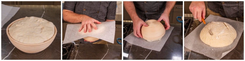 Remove the dough from the basket onto some parchment paper and score the top of it